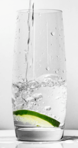 water and lime in glass