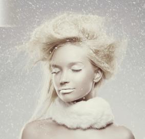 girl frosty winter