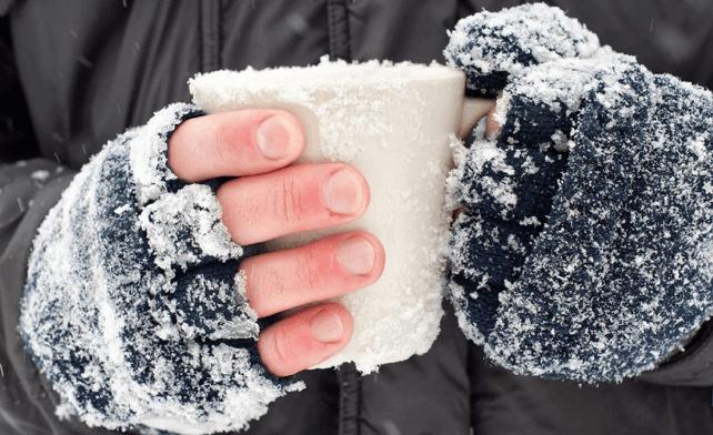 winter hands frost