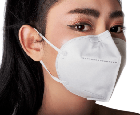 lady wearing a surgical respirator