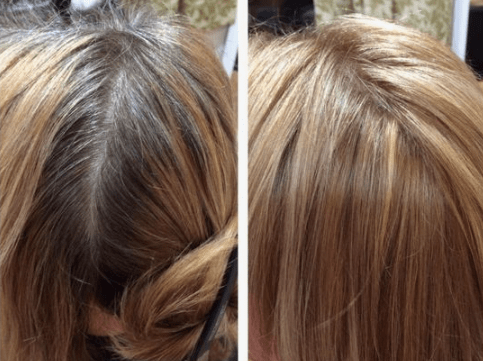 Grey hair before and after hair day
