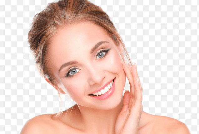 woman smiling touching cheek
